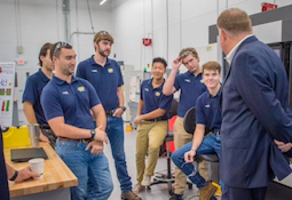 Delta Air Lines executive meets with Georgia Tech students in the Advanced Manufacturing Pilot Facility (photo courtesy of Delta Air Lines)