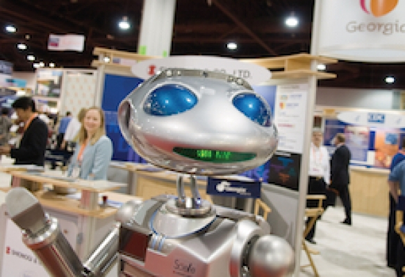 GT-developed robot at the Biotechnology Industry Organization conference