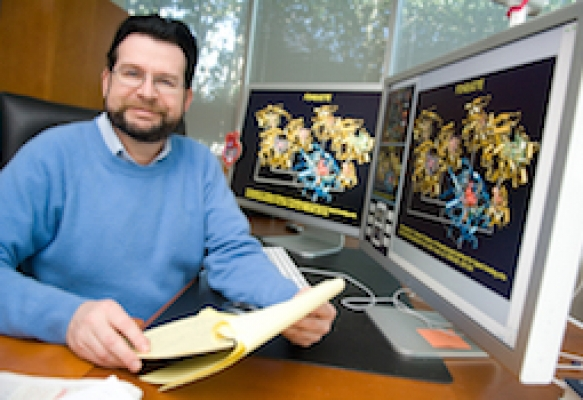 Jeffrey Skolnick at his desk in the Biology College of Sciences